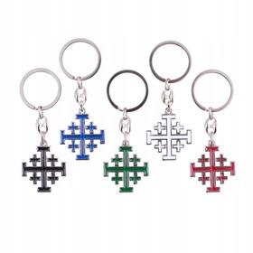 Brelok krzyż jerozolimski niebiesko-srebrny