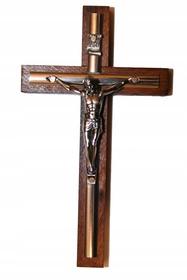 13cm Krzyż drewniany na ścianę złota listwa CIEMNY