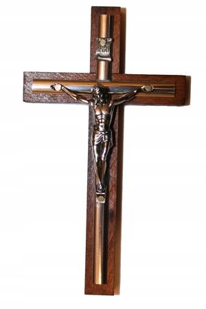 13cm Krzyż drewniany na ścianę złota listwa CIEMNY (1)
