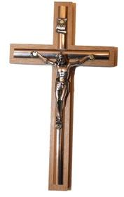 13cm Krzyż drewniany na ścianę złota listwa JASNY