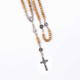 RÓŻANIEC drzewo oliwne medalik krzyż św. Benedykta