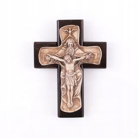 22cm Krzyż na ścianę drewniany piękny Trójca św.