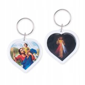 Brelok św. Krzysztof i Jezus Miłosierny SERCE