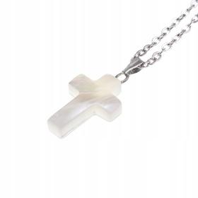 Naszyjnik łańcuszek + perłowy krzyżyk Perla Madre