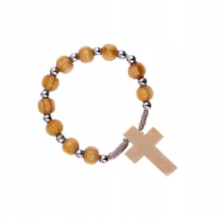 Dziesiątka różaniec drewniana krzyż na palec (1)