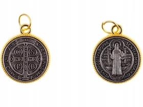 Pozłacany Medalik Krzyż św. Benedykta masywny