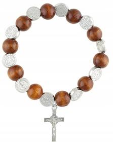 Różaniec na rękę 10tka medalik św Benedykta CH