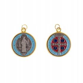 Kolorowy medalik św. Benedykta krzyż złoty duży