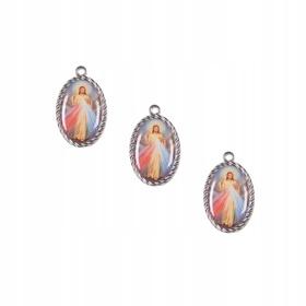 Jezus Miłosierny kolorowy medalik dwustronny 2,6cm