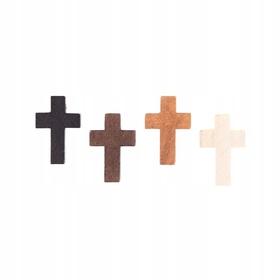 Krzyżyk drewniany do różańca 22mm 4 kolory Jezus