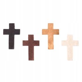 Krzyżyk drewniany do różańca 33mm 4 kolory Jezus
