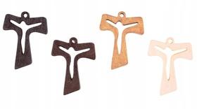 Krzyż krzyżyk drewniany TAU 35mm 4 kolory Jezus