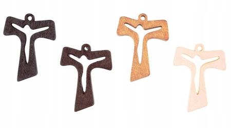 Krzyż krzyżyk drewniany TAU 35mm 4 kolory Jezus (1)