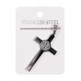 Naszyjnik łańcuszek + krzyżyk medalik św Benedykta