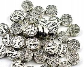 Łącznik metalowy przewlekany medalik św. Benedykta