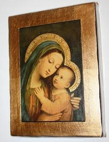 Złocona ikona obraz Matka Boża z Dzieciątkiem 17cm