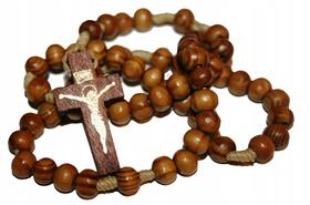 Różaniec drewniany na sznurku drzewo oliwne krzyż