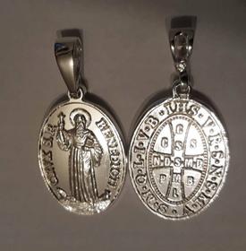 MEGA 12g SREBRNY Medalik św. Benedykta ORYGINALNY