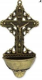 Metalowa KROPIELNICA Krzyż na wodę kropielniczka