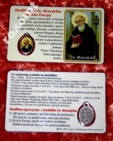 Św. Benedykt laminowany obrazek + medalik UNIKAT