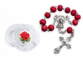 Różany zapach 10tka różaniec w pojemniku z różą