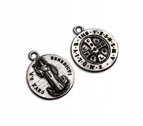 ORYGINALNY dawny MEDALIK Krzyż św. Benedykta IHS