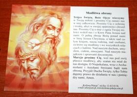 Modlitwa Obrony Trójca Święta Duch Św obrazek 11cm