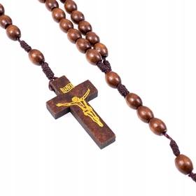RÓŻANIEC drewniany na sznurku brązowy mocny
