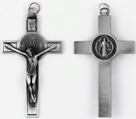 NOWOŚĆ! Aż 7cm krzyż medalik św. Benedykta srebrny