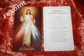 Jezus Miłosierny brokatowany obrazek + koronka