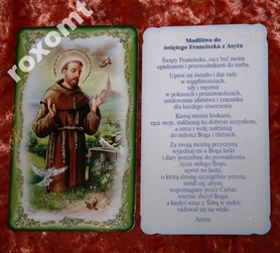 Św. Franciszek unikat obrazek brokat 11 x 6,5 cm