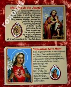 Św. Józef i Maryja laminowany obrazek + medalik