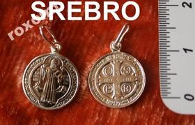 SREBRNY 1cm Medalik Krzyż św. Benedykta IHS pr.925