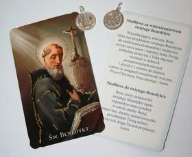 SREBRNY 1,5 cm Medalik Krzyż św. Benedykta IHS/PAX