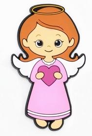 Aż 8cm magnes gumowy na lodówkę Aniołek z sercem
