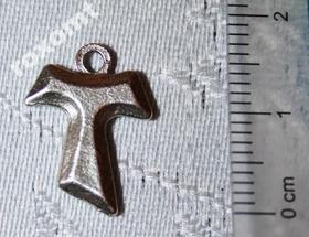 Krzyżyk znak TAU zawieszka do różańca srebrny