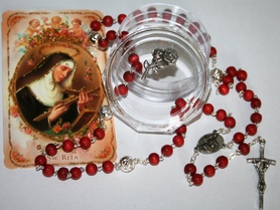 RÓŻE Św. Rita Pachnący różami RÓŻANIEC + obrazek