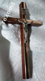 13cm Krzyż wiszący na ścianę drewno + złoty akcent