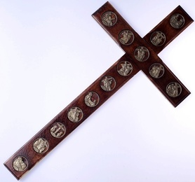 42 cm! Drewniany KRZYŻ z Drogą Krzyżową na ścianę