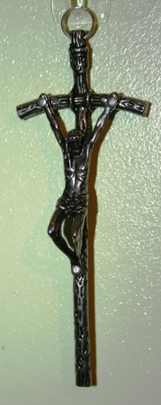 11cm KRZYŻ krzyżyk papieski metalowy OKSYDOWANY (2)