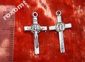 Krzyżyk do różańca medalik św. Benedykta srebrny