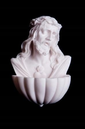 Alabastrowa KROPIELNICA Serce Jezusa korona 14cm (2)