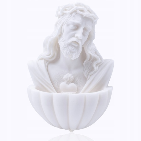 Alabastrowa KROPIELNICA Serce Jezusa korona 14cm (1)