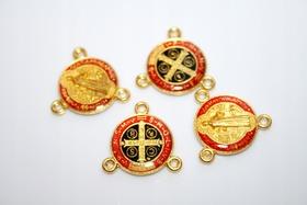 KOLOROWY łącznik do różańca medalik Św. Benedykta